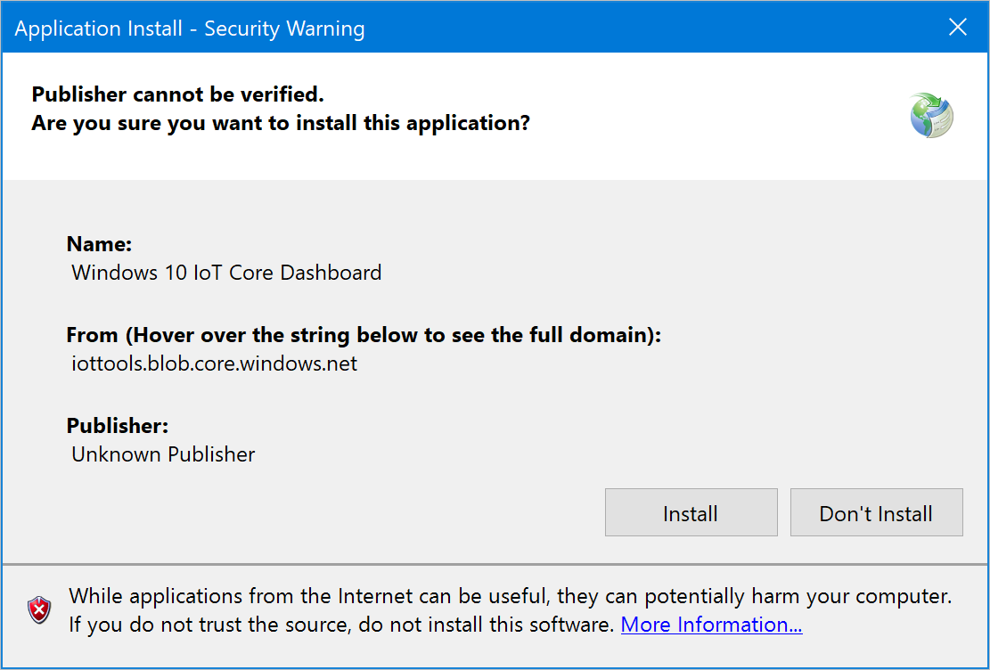 Application Install Security Warning Windows 10