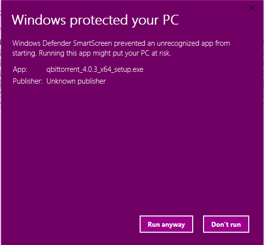 4 0 3 installer blocked by Windows Defender · Issue #8065