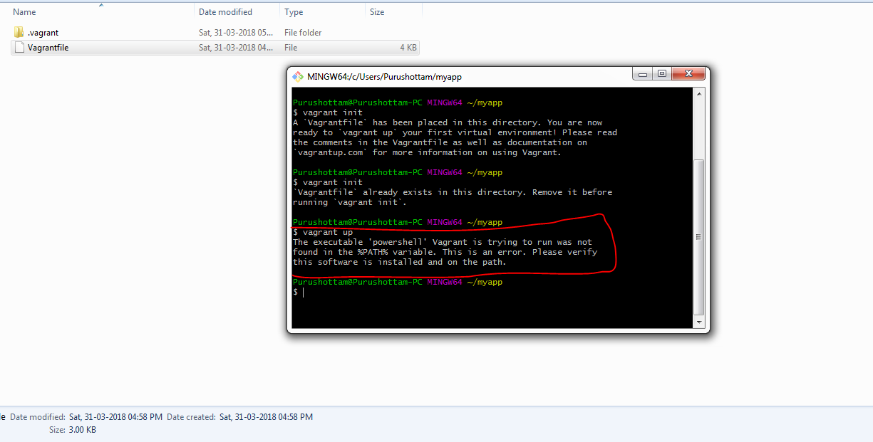 The executable 'powershell' Vagrant is trying to run was not