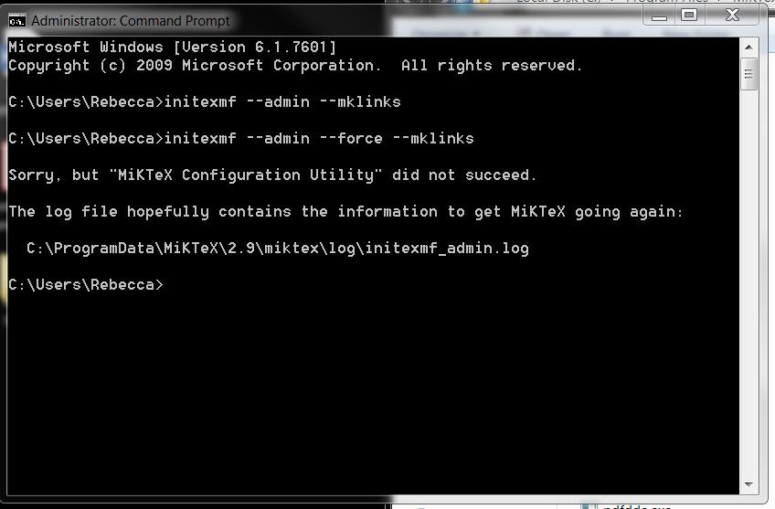 Unsuccessful update using MiKTeX console - seems to be a