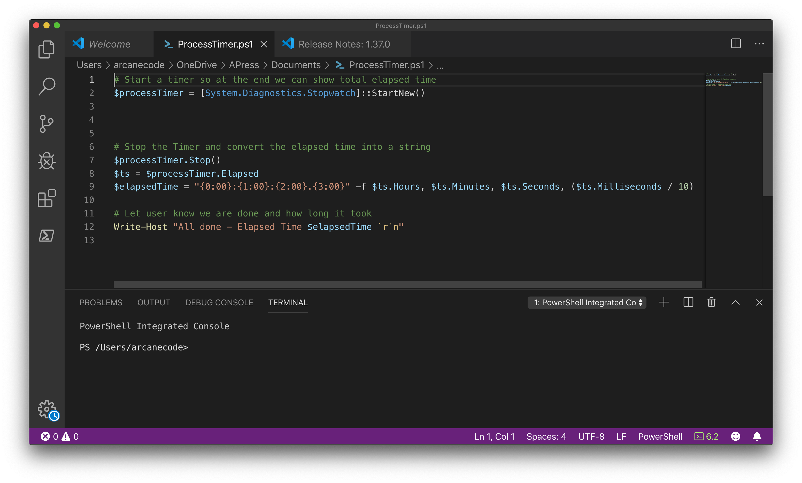 PowerShell Code in VSCode