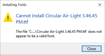 Issue using Circular Air-Light 3 46 45 PM ttf font on Windows10 PC