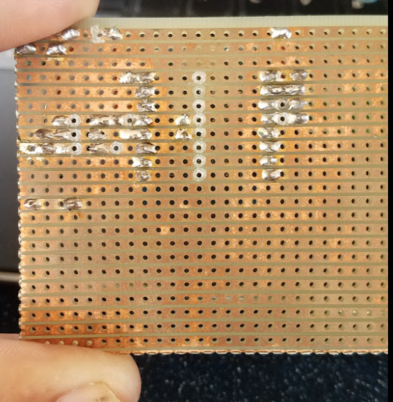 Solder side of stripboard