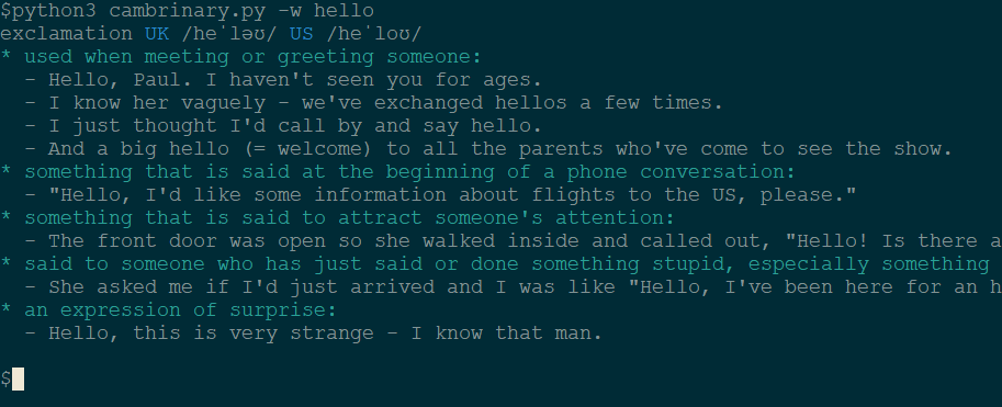 A linux terminal online dictionary based on Cambridge online