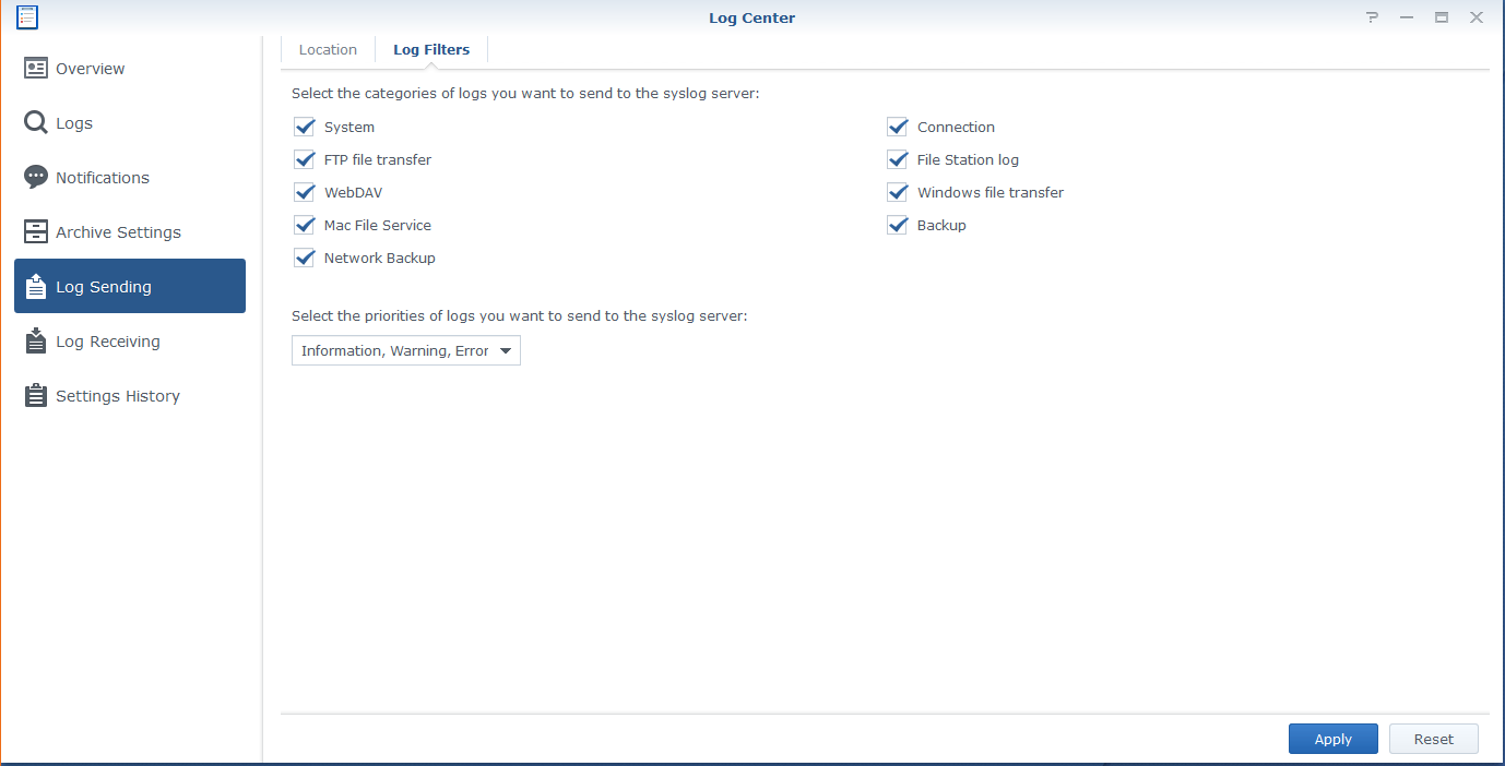Information & Warning syslog sent from Synology -