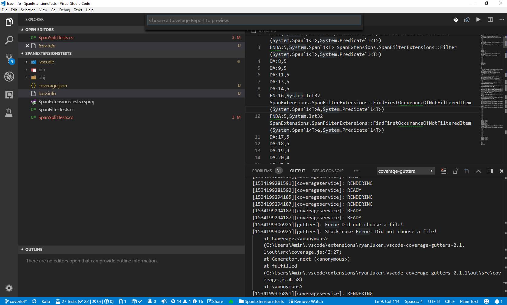 Cannot load coverage file · Issue #161 · ryanluker/vscode