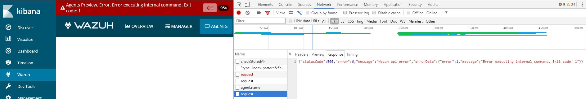 Agents-Preview: Error doing a request to Kibana API. (code -2) when ...