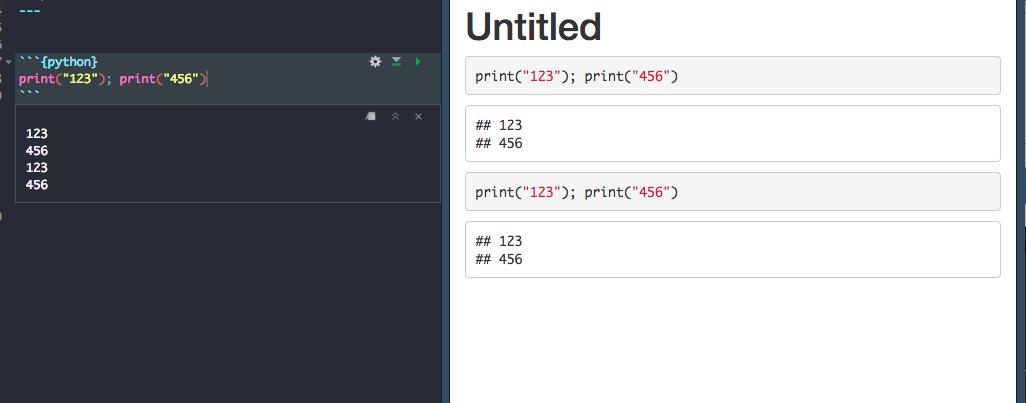 RNotebook - Multi-statement python chunk output printed