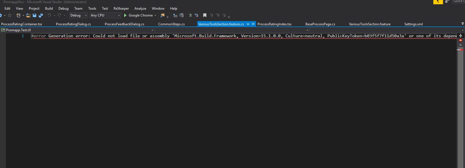 Developers - Visual Studio 2017 Generation error: Could not