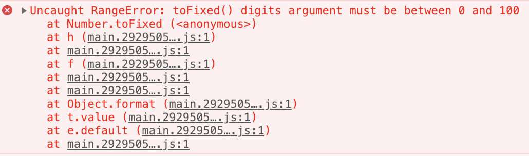 RangeError: toFixed() digits arguments must be between 0 and