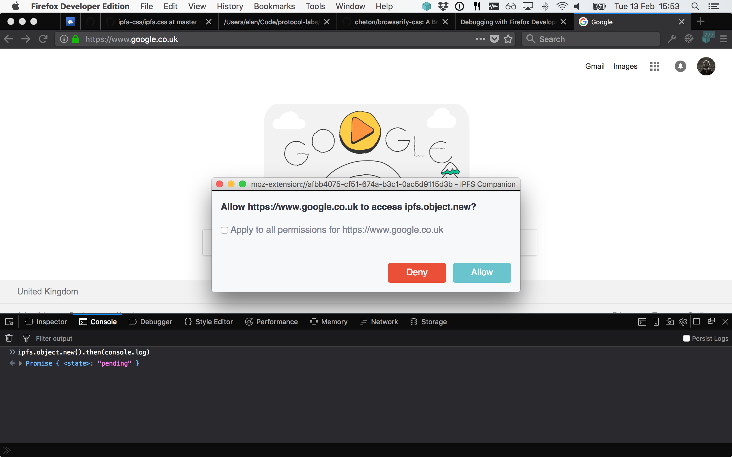 permission dialog in Firefox