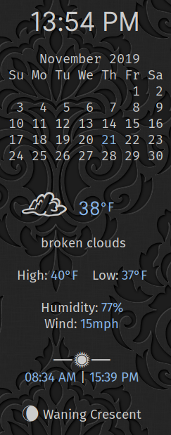 calendar with weather information