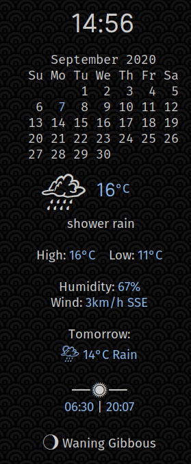 Conky monitor showing weather information