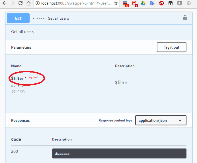 Optional query parameters are marked as required in the UI