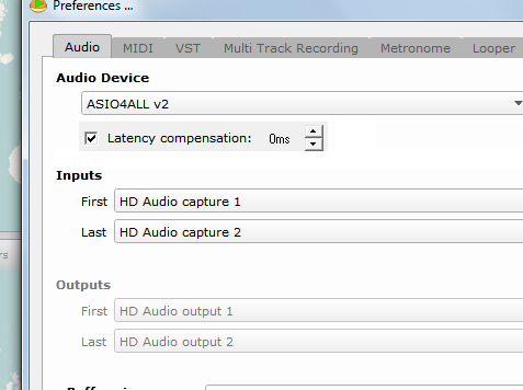 Latency compensation implementation when using direct monitoring