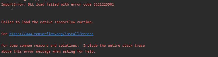 import tensorflow fail ,error code 3221225501