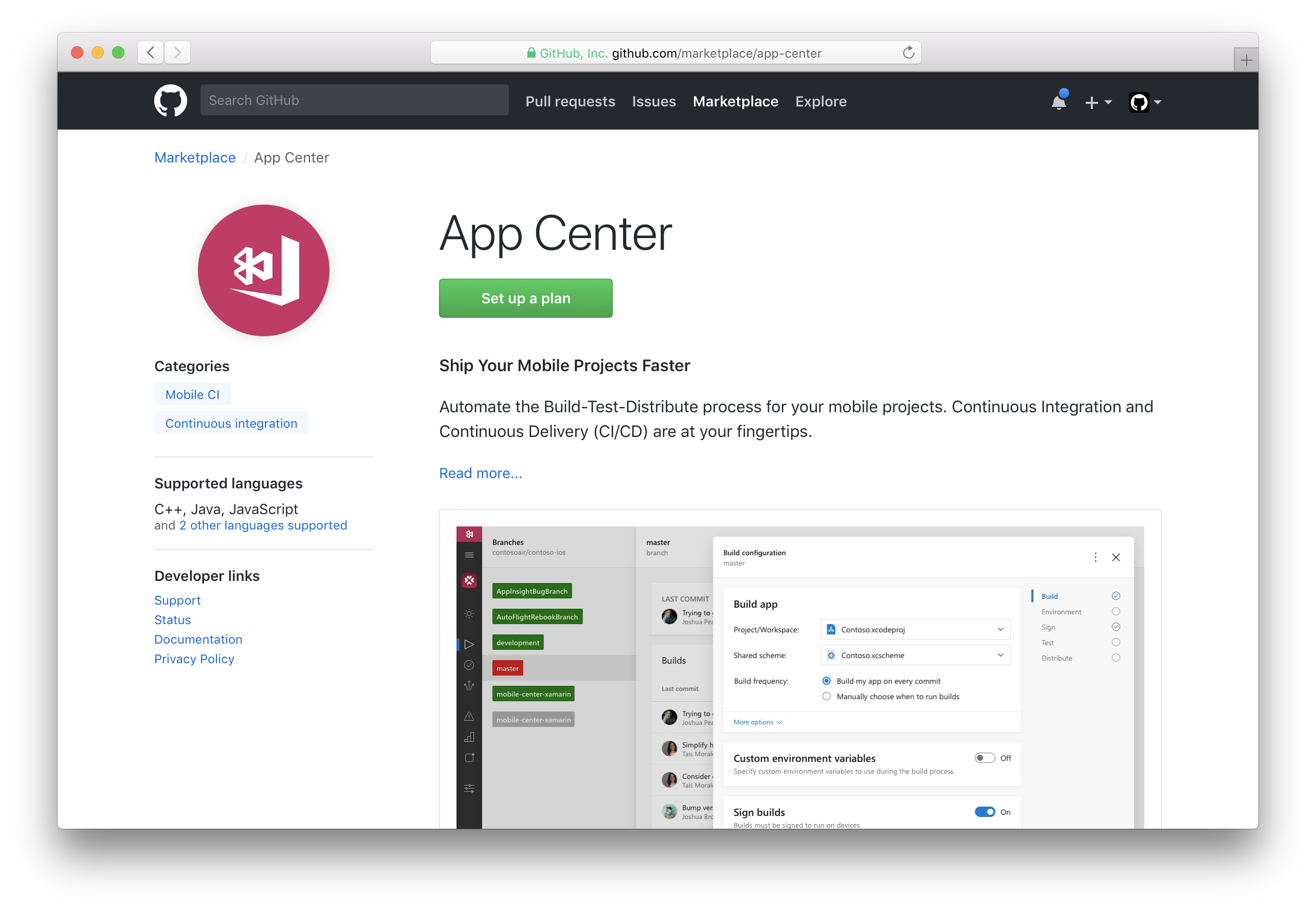 Screenshot of App Center integration