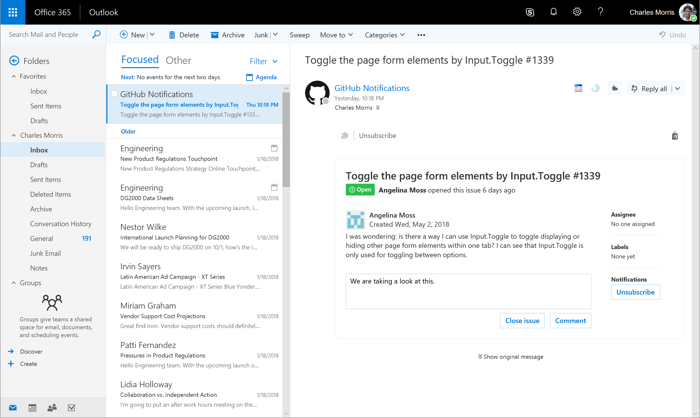 Screenshot of Outlook integration