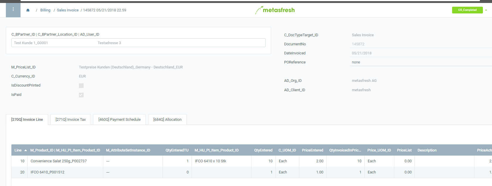 proforma invoice via sales order workflow issue 4035 metasfresh