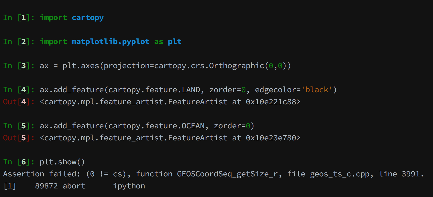 cartopy possibly kills the kernel when using ipython/jupyter