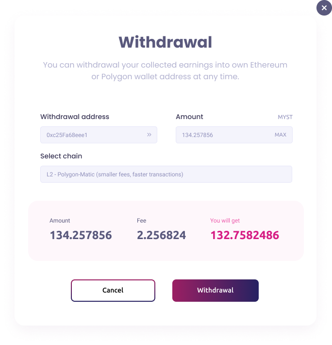 Withdrawal popup