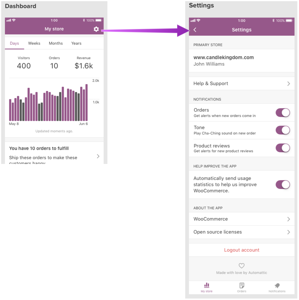 App Settings: Add logout button · Issue #145 · woocommerce