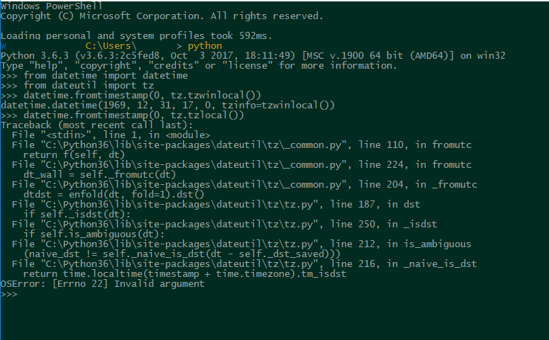utcoffset crash on Windows with EPOCH and tzlocal for