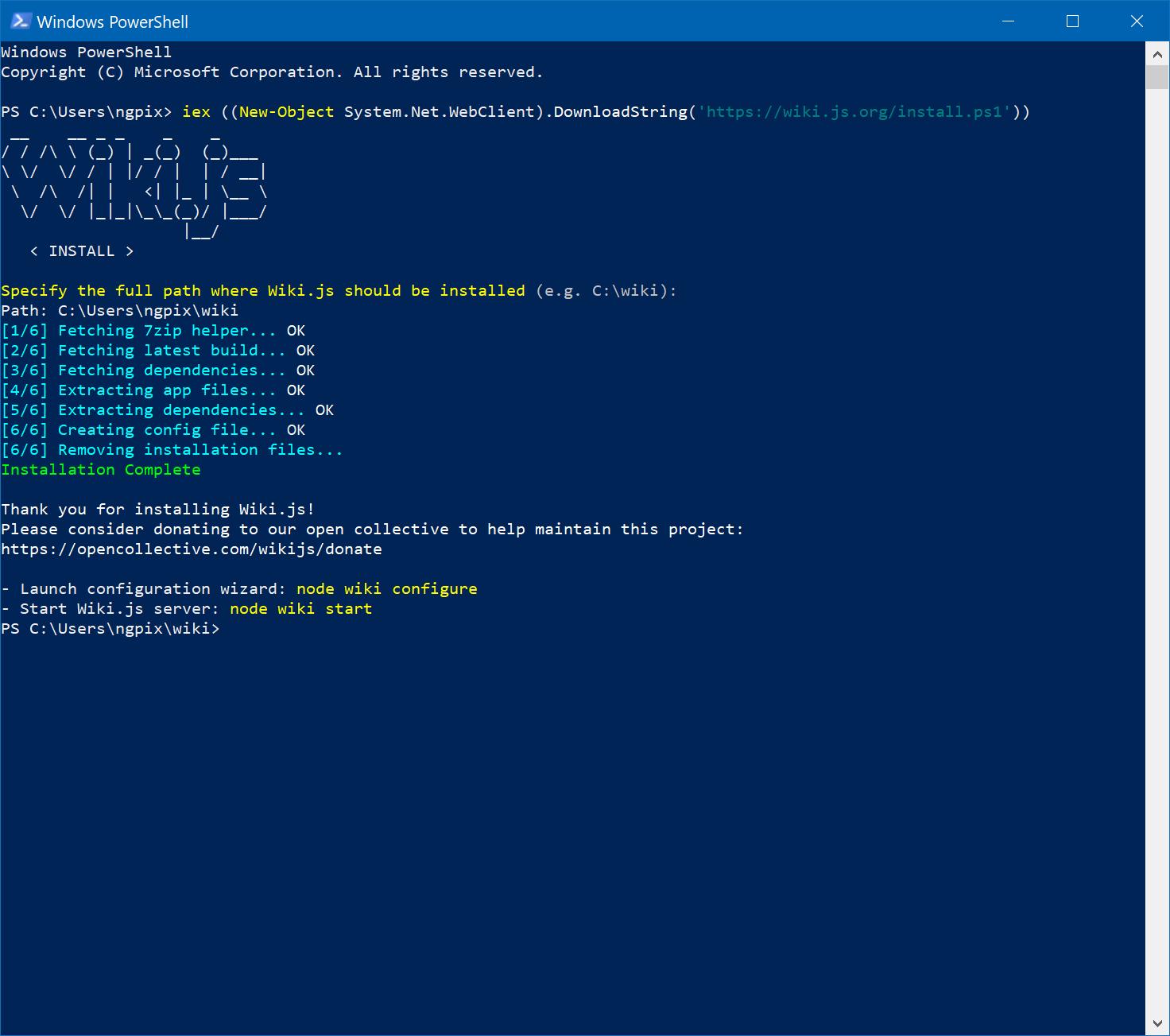 Installation fails on windows10 · Issue #579 · Requarks/wiki