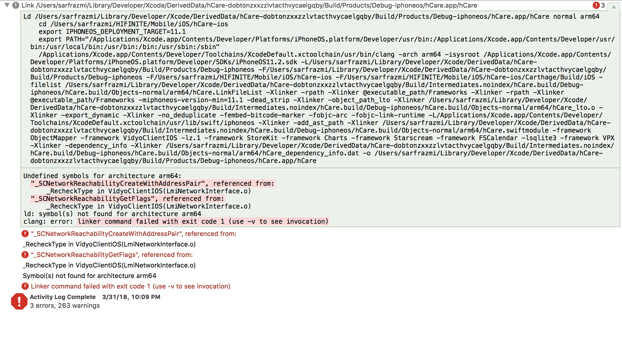 Linker Error Undefined Symbols For Architecture Arm64 Issue 4