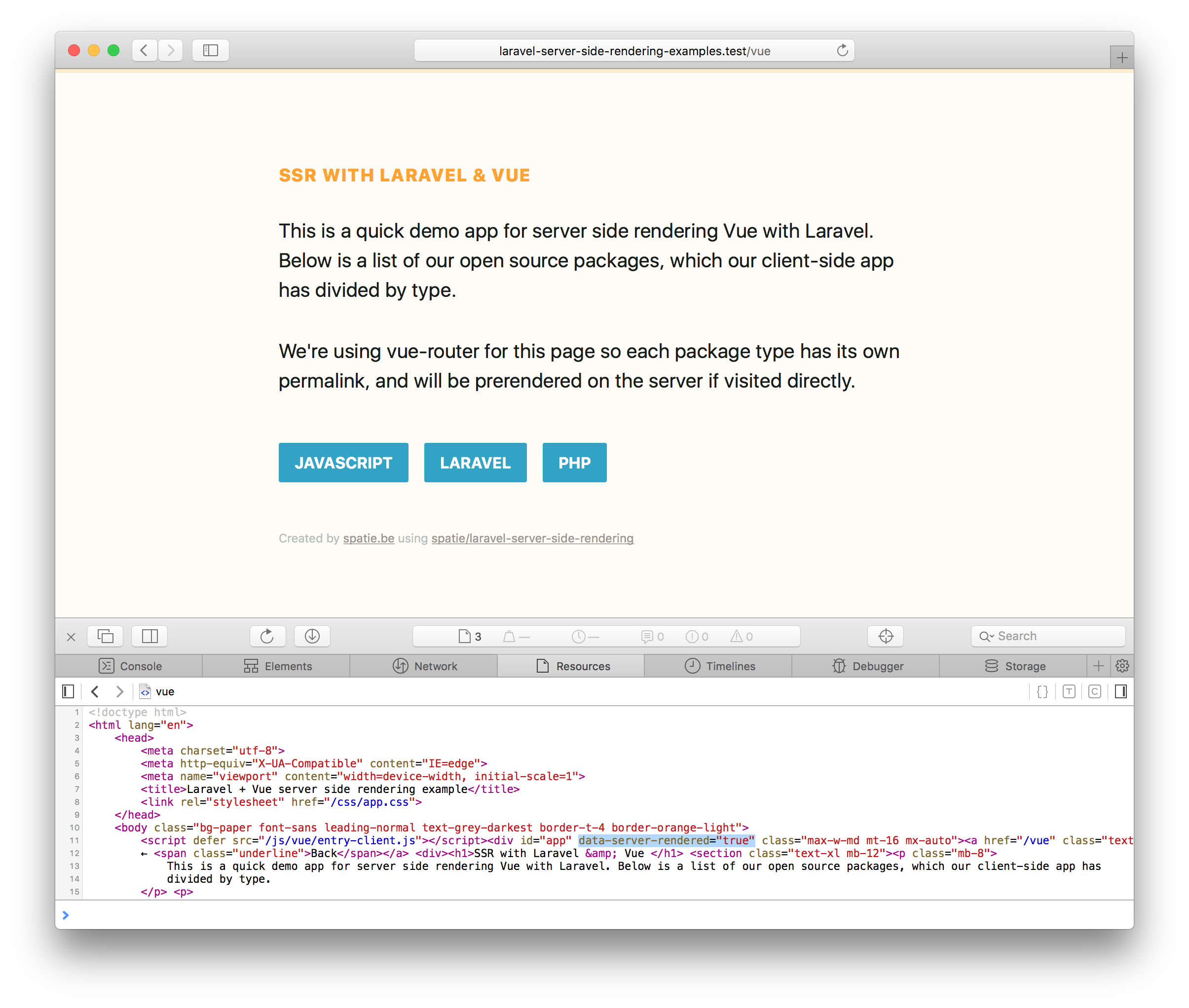 GitHub - spatie/laravel-server-side-rendering-examples