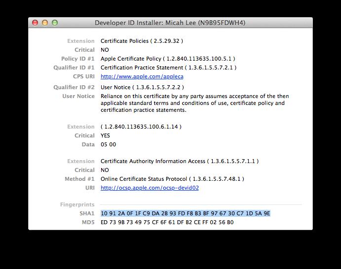 Post the SHA-256 fingerprint of your Developer ID Certificate for