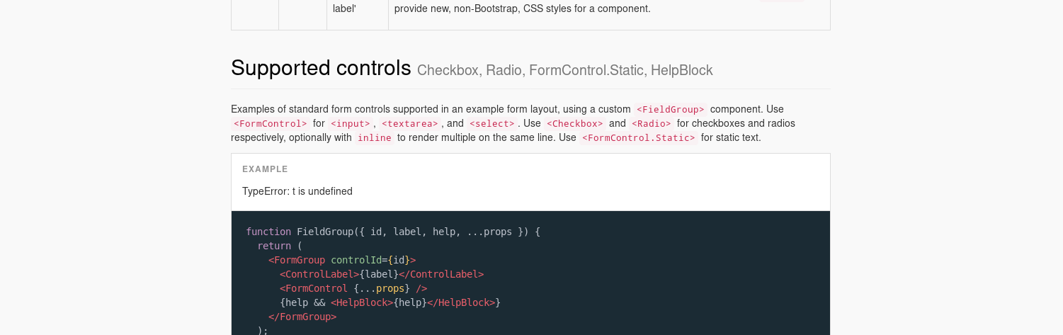 Forms Supported Controls Example Issue 2933 React Bootstrap