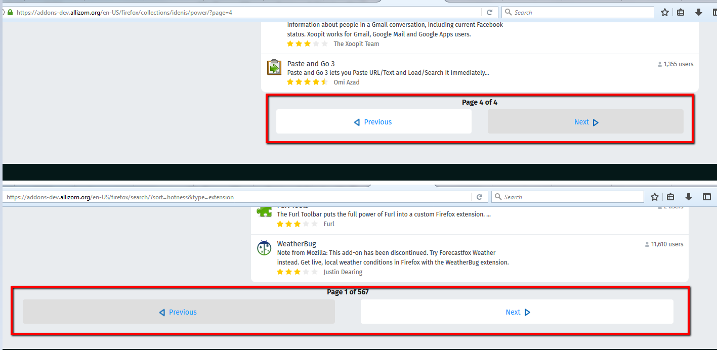 Keep consistency for nav arrows between search results and