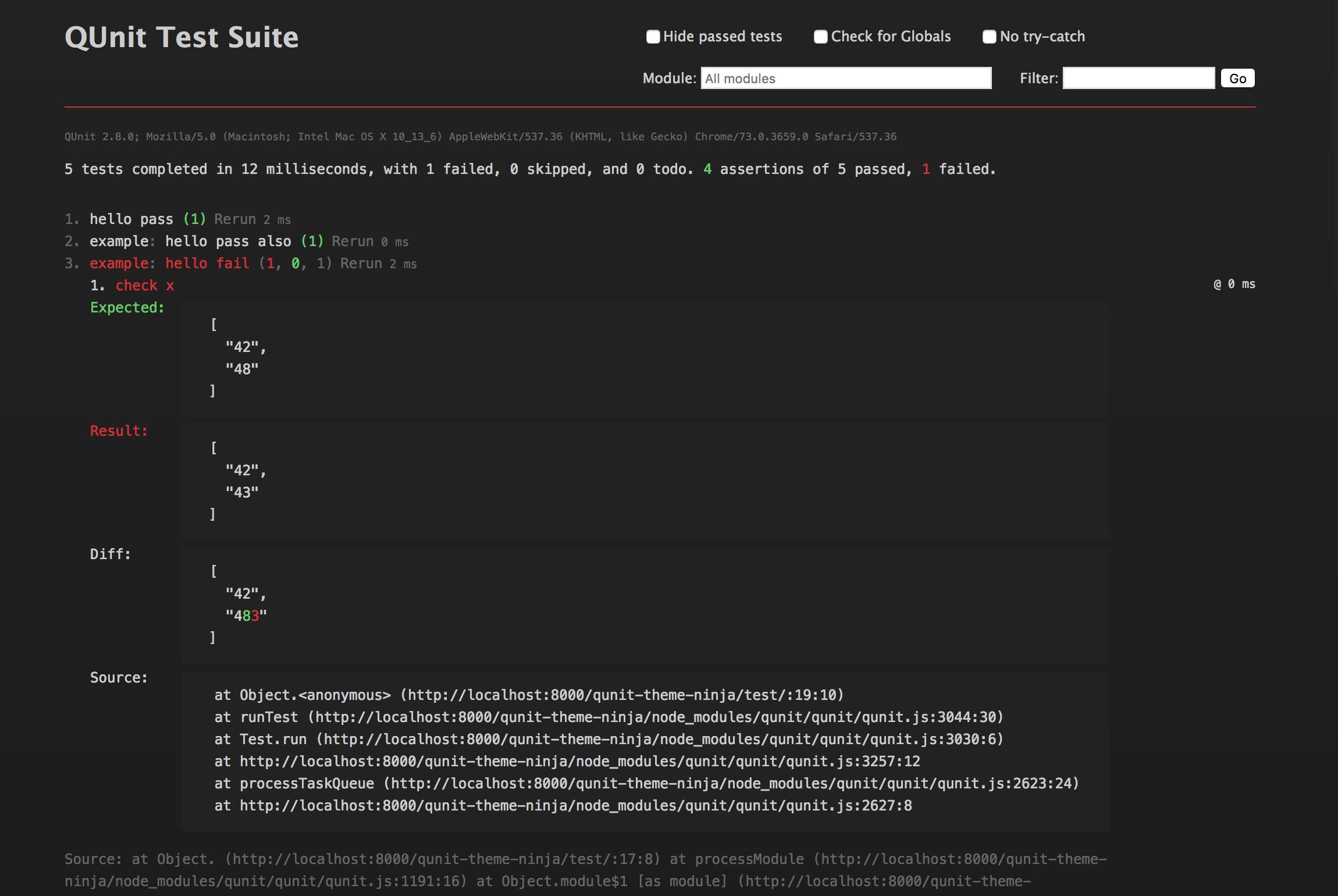 Screenshot of v2.0.0, failing