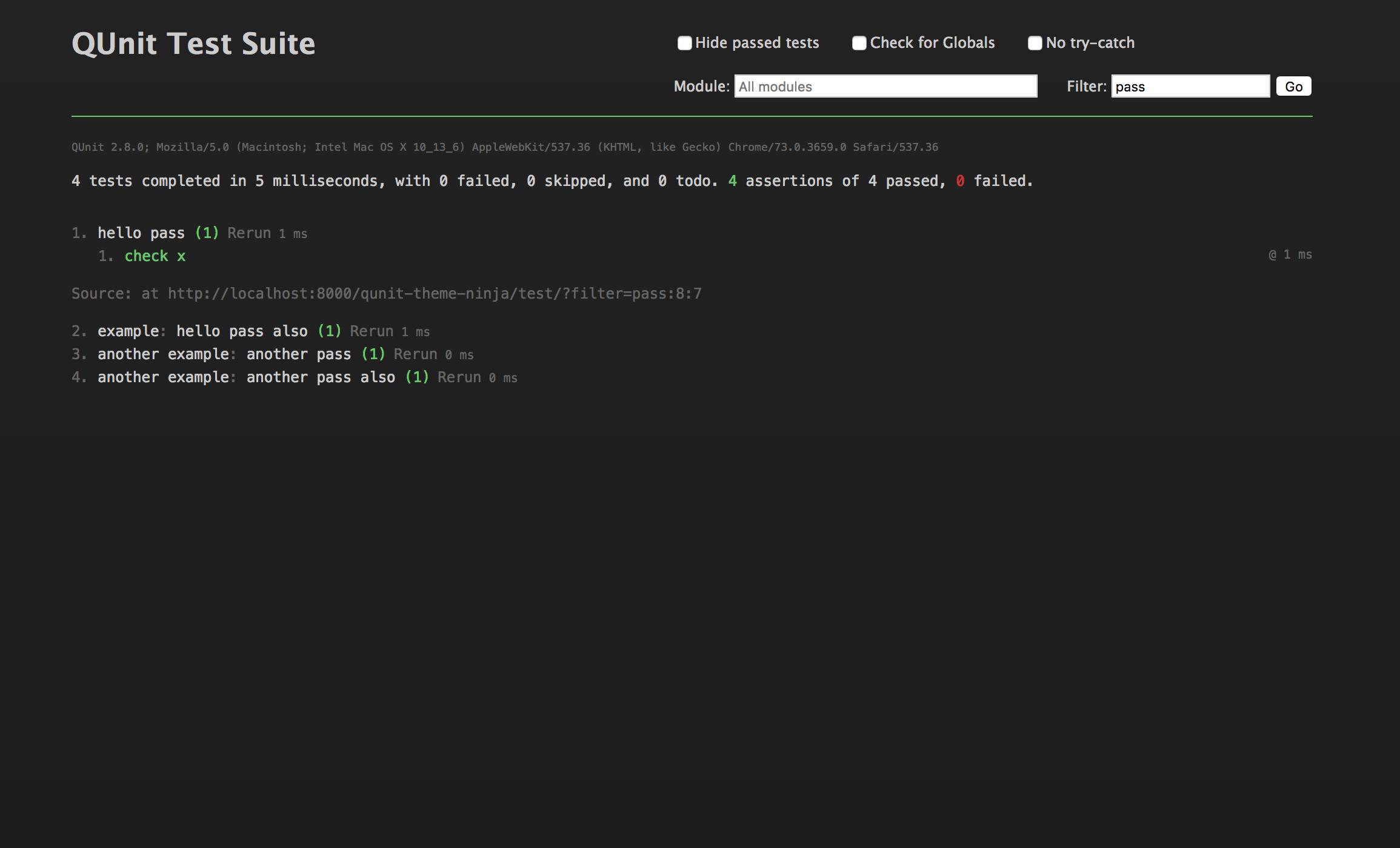 Screenshot of v2.0.0, passing