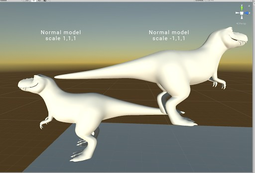 3D models given scale -1 have strange looking normals