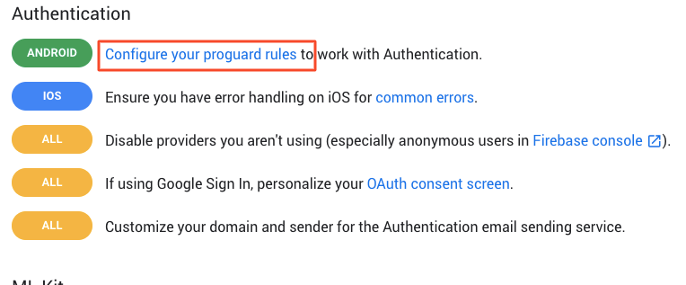Documentation] Proguard Rules for firebase products and