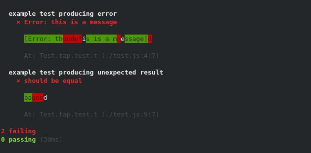 node test.js tape | tap-difflet