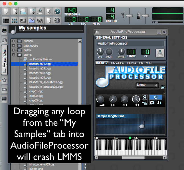 LMMS crash on drag and dropping a file into