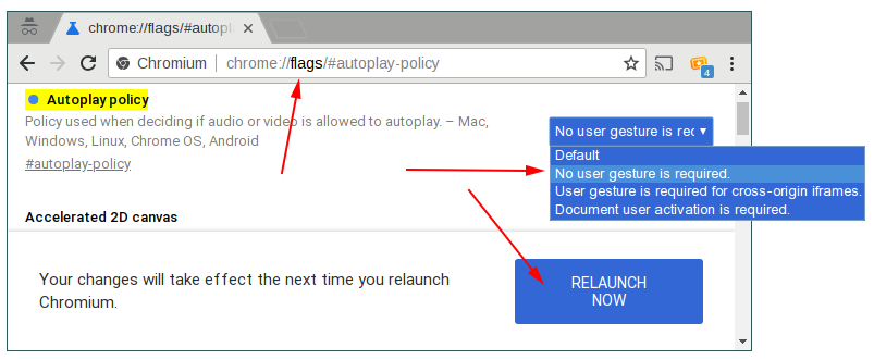 enabling autoplay in Chrome