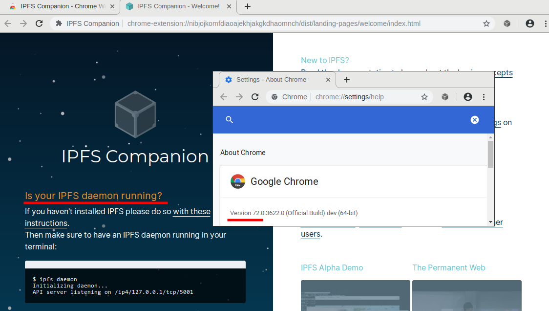 No longer works in Google Chrome Beta/Canary (72/73) · Issue
