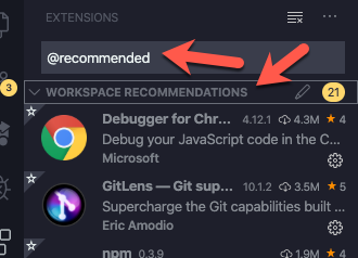 image screenshot of searching for recommended extensions