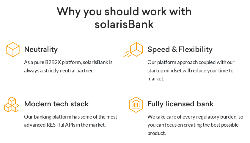Screenshot of solarisBank's homepage