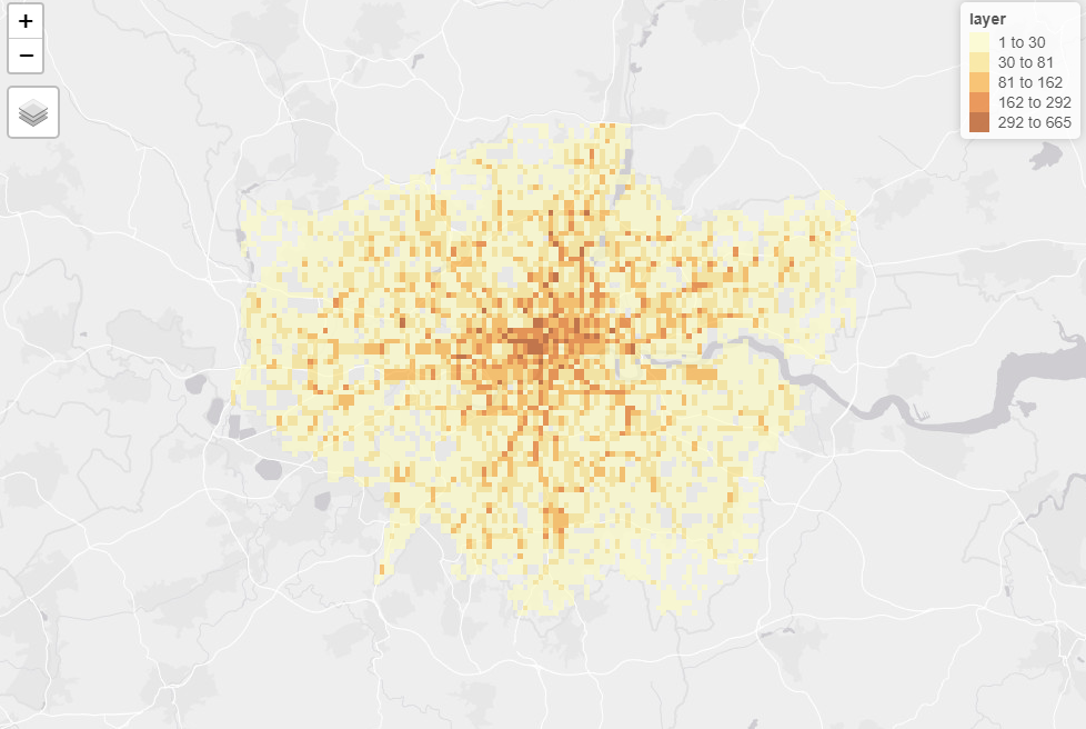 Example of the rastered crash data from 2019 for London, showing areas with more casualties in darker red