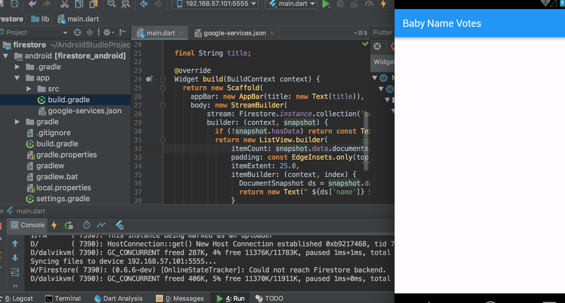 Codelab firestore + flutter example is not working · Issue