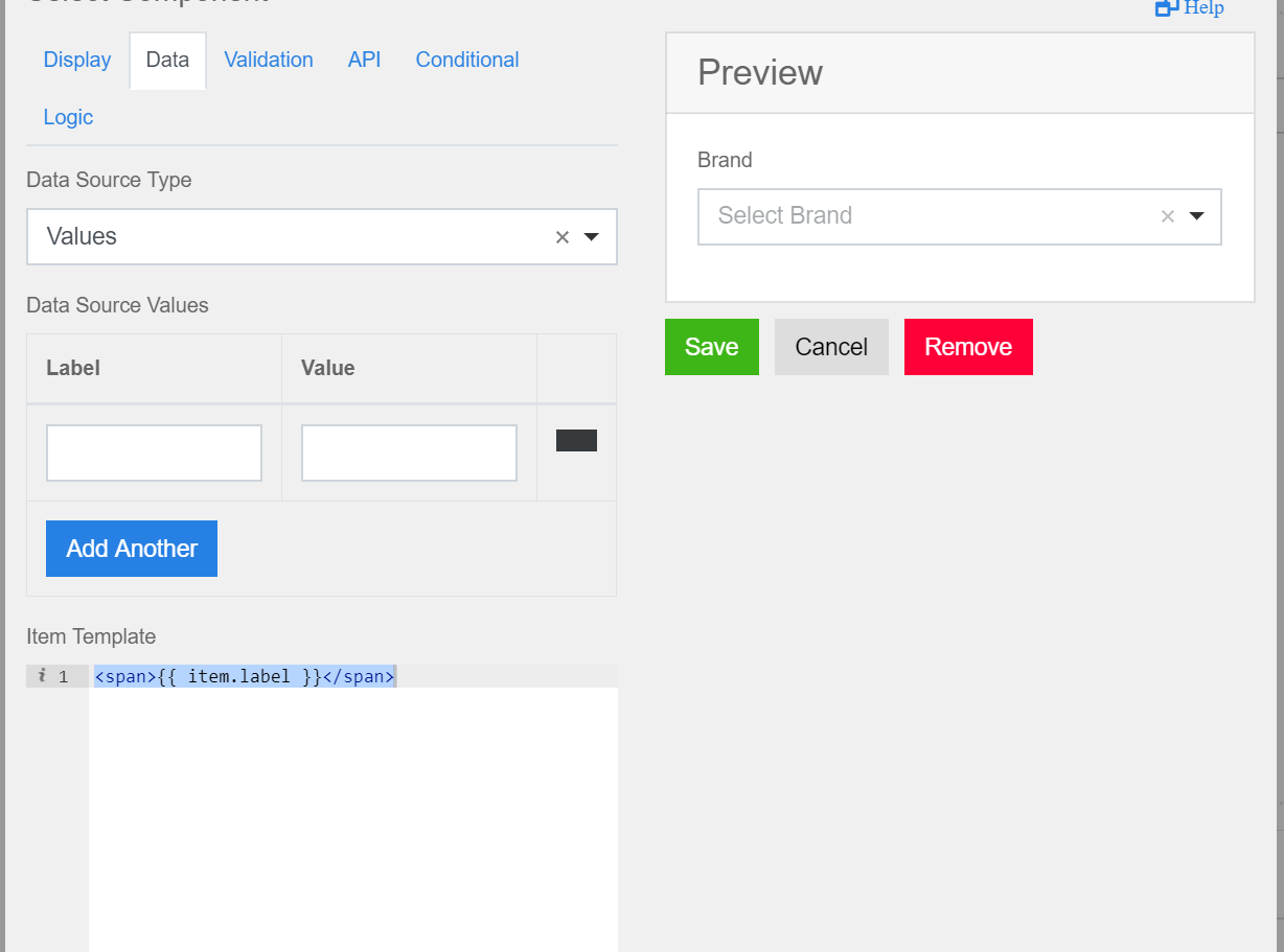 Form Builder: Adding static values through json on Select