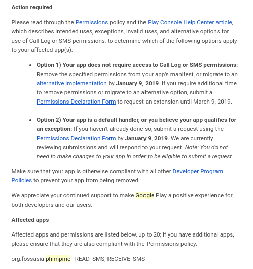 App should not require SMS permissions · Issue #2281