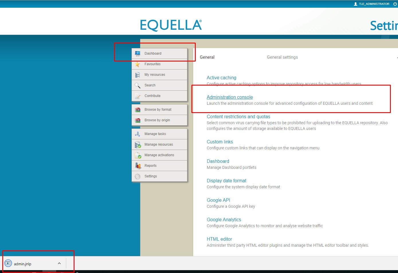 unable to access dashboard · Issue #539 · apereo/openEQUELLA