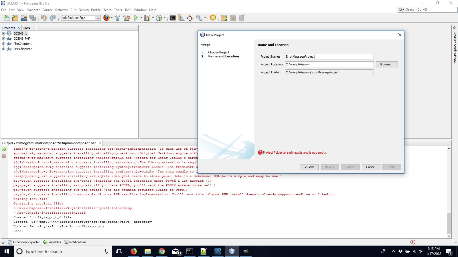 Error when creating a new CakePHP3 Framework app in NetBeans