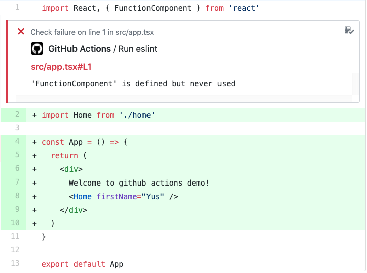 Linting with github actions